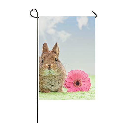 (EIJODNL Home Dekorative Outdoor-Fahne mit Blume auf Gras Blauer Himmel, Garten-Flagge, Garten-Hof-Dekorationen, saisonale Willkommen-Outdoor-Flagge, 30,5 x 45,7 cm, Frühjahrs- und Sommer-Geschenk)