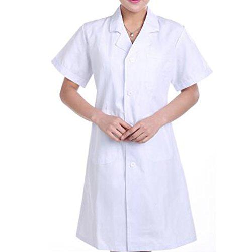 Herren Klassische Laborkittel (Nanxson(TM) Damen Herren Laborkittel Kittel kurzarm Medizin Arztkittel Labormantel Mantel CF9006 (M, Damen Weiß))