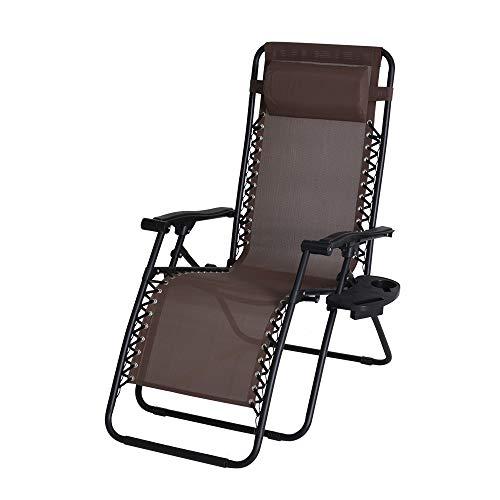 Enrico coveri garden sedia a sdraio imbottita reclinabile marrone - cuscino poggiatesta imbottito, rivestimento in acciaio, adatta a giardino, piscina e relax