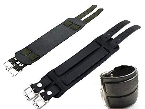 SAVANNAH CHARMS Bracelet cuir noir bracelet de force