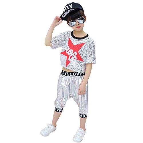 op Dance Kostüme Jazz Pailletten Ballsaal Moderne Kleidung Tops Hosen,Silver,160Cm (Top-teen-halloween-kostüme)