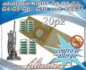 Kirby Filtertüten (20Staubsaugerbeutel + 20Duft Papier anpassbar Kirby g1-g2-g3-g4-g5-g6... G10)