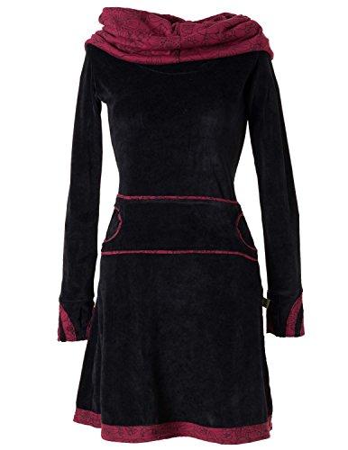 Vishes - Alternative Bekleidung – Samtkleid mit Kapuzenkragen schwarz-rot 36 (Velours-tunika Kapuze Mit)