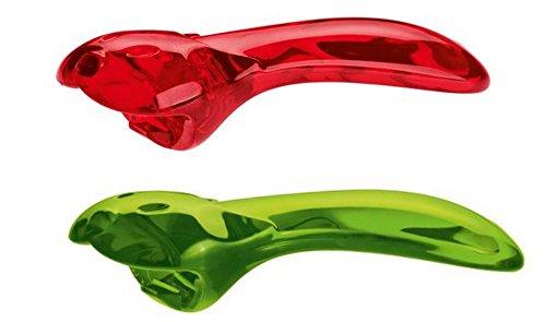 2er Pack koziol Deckelöffner Tom für Gläser und Dosen mit Drehverschluss transparent rot grün