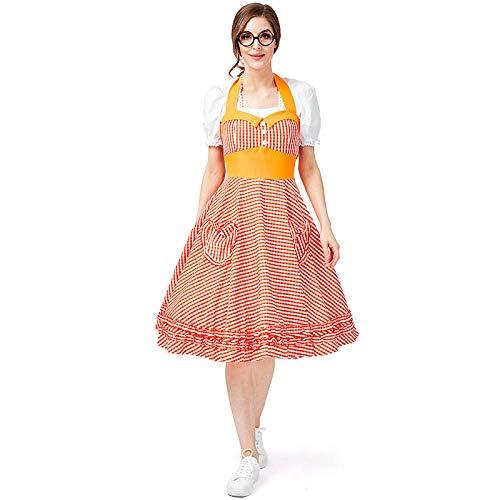 NGHJF Sexy Oktoberfest Bier mädchen kostüm Erwachsene Frauen Maid Cosplay bayerischen Karneval Party Dress Bluse schürze@mit weißem Hemd_L (Für Erwachsene Bier Mädchen Kostüm)