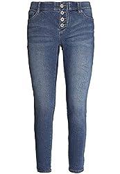 Sublevel Damen Skinny Jeans mit Push-up Effekt und Gummiband Light-Blue M