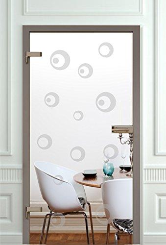 rs-interhandel Glastür Aufkleber Tattoo Folie Glasdekor Fensterfolie Sichtschutz Wohnzimmer, Bad, Küche oder für alle Glasflächen Sichtschutzfolie für Türen Kreise Motiv 132