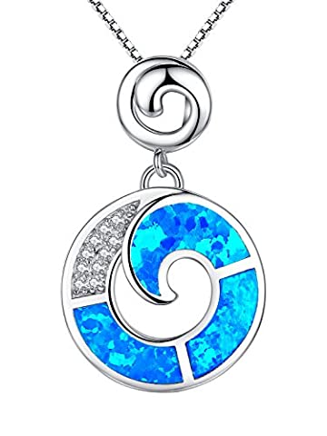 Sterling Silver Circle Blue Green Fire Opal Inlay and Cubic Zirconia Pendant Necklace for Women, 46cm Box Chain - SC142n46