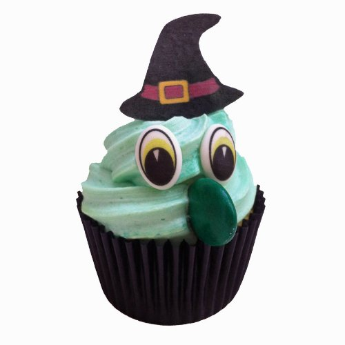 Dekorations-Set zum kreieren von 24 Halloween Hexen-Cupcakes. Beinhaltet 24 Paar Augen, 24 Hexenhuete und 24 lange gruene Schokonasen
