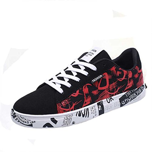 Men's Breathable Geometric Teenage Canvas Shoes Black Red