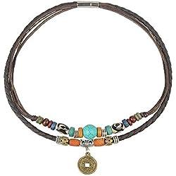 Ancient Tribe - Gargantilla para mujer, de piel auténtica, con cuentas de turquesa, 38,1 cm