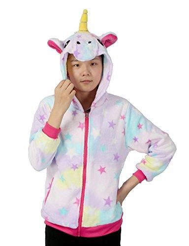 Einhorn Kostüm Sweatshirt Tieroutfit HoodiesKapuzenpullover Reißverschluss mit Kapuze Cosplay (Large, bunt)
