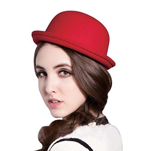 THENICE Chapeau melon vintage pour femme rouge