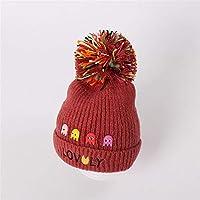 ETMAAA Creative Red Cap Volltonfarbe Kinder Hut Winter Warmer Wollmütze Strickmütze