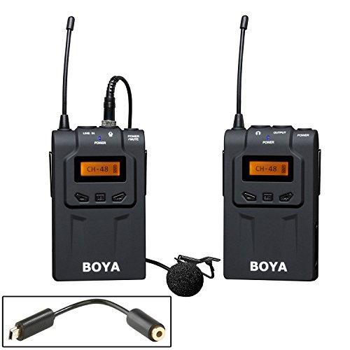 BOYA BY-WM6 48-Channel UHF microphone Micro-cravate Condensateur omnidirectionnel sans fil pour Canon 700D 650D 6D 7D 5D2 5D3 Nikon D750 D700 D800 Sony Panasonic DSLR caméras caméscopes Gopro Hero 3 3+ 4