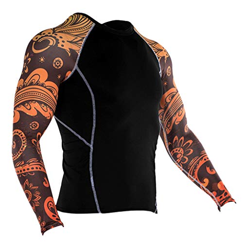 Rosennie Herren Gym Fitness T-Shirt Herren Funktionelle Sport Bekleidung Männer Yoga Mode T-Shirt Druck Top Schnelltrocknende Bodybuilding Gym Running Shirt Muscle Shirt -