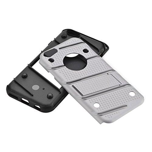 EKINHUI Case Cover Dual Layer Hybrid Armor Schutzhülle Shockproof Stoßfänger mit Kickstand für iPhone 7/8 ( Color : Blue ) Silver