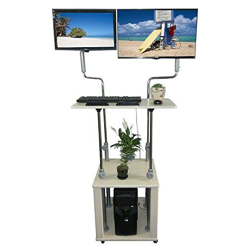 Tische MEIDUO Dual Ergonomic Monitor Stehschreibtisch | Praktischer Stil | Stand up Desk Converter | Arbeitsplatz für Zuhause/Büro Computertisch (Schreibtische Einzelne Workstation)