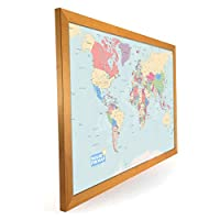 Butler and Hill Laminated World Map Map Pinboard, Framed in Light Wood 76 x 51cm