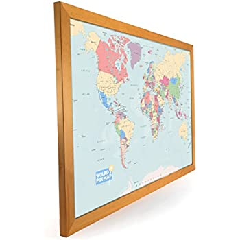 Laminated world pinboard map framed in dark wood 76 x 51cm new laminated world map map pinboard framed in light wood 76 x 51cm new design gumiabroncs Gallery