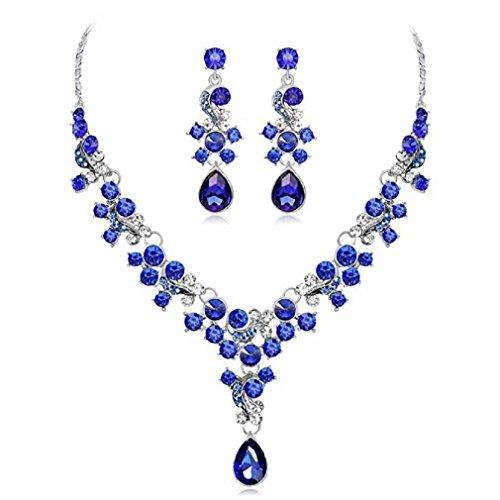 Liquidazione offerte, fittingran liquidazione offerte collana + orecchini gioielli set donna stile misto bohemia colore bib collana a catena orecchini gioielli da sposa (blu)