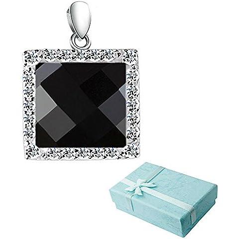 acxico Black Onyx con cristallo intarsiato ciondolo quadrato in argento 925
