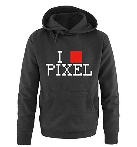 Comedy Shirts - I LOVE PIXEL - Uomo Hoodie cappuccio sweater - taglia S-XXL vari colori nero / bianco-rosso