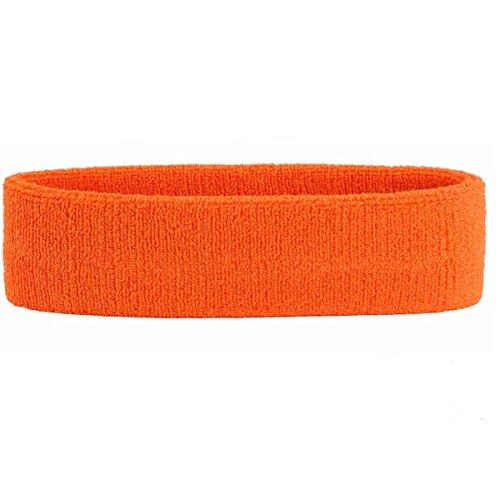 OnUpgo Stirnband, Sport-Stirnband, Frottee, gestreift, Kopfband/Handgelenkband, Sportübungen, Basketball, Stirnband, feuchtigkeitsableitend, Schweißabsorbierend, Schweißband, HEADB - Orange