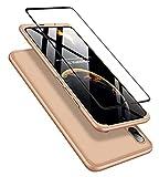 DECHYI kompatibel mit Huawei P Smart+ 2019 Hülle, handyhülle + panzerglas 360 Grad Schutz Matte PC Hard Cover Körperschutz Kratzfeste Abdeckung 360°Voll Staubschutz case Gold -