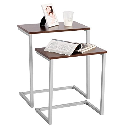 WOLTU Beistelltisch TSG15dc Kaffeetisch Couchtisch Sofatisch Betttisch, Gestell aus Metall, Tischplatte aus Holz, 2er Set, Groß(48x30x59cm),Klein(43x27x48,5cm), Dunkelbuche