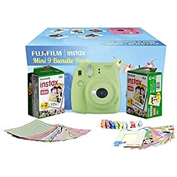 Fujifilm Instax Camera Mini 9 Bundle Pack with 40 Films Shot Free (Lime Green)