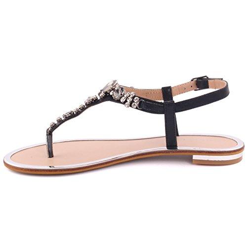 Unze Neue Frauen 'coop' Diamante Verschönert Sommer-Strand-Partei Zusammen Carnival Casual Flache Sandalen Schuhe UK Größe 3-8 - 8Y3923-813 Schwarz