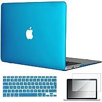 Topideal - Carcasa de goma rígida 3 en 1 para MacBook Air de 13 y 13,3 pulgadas (modelos: A1369 y A1466), mate satinado, con un suave tacto sedoso + carcasa para teclado + protector de pantalla aguamarina EU/UK Keyboard Version