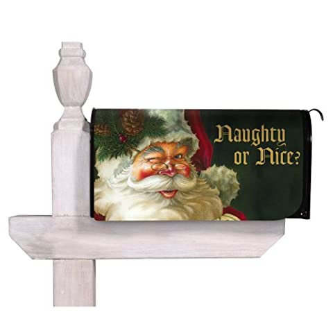 Naughty Or Nice Santa Magnetic Mailbox Cover
