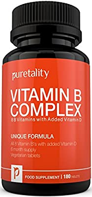 Vitamin B Complex 180 Tablets with Vitamin D (6 month supply) - 100% MONEY BACK GUARANTEE - with Added Vitamin D3 Contains all Eight B Vitamins in 1 Vegetarian Tablet, Vitamins B1, B2, B3, B5, B6, B12, D-Biotin & Folic Acid by Puretality from Puretality