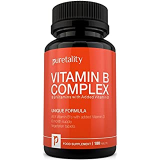 Vitamin B Complex 180 Tablets with Vitamin D (6 month supply) 100% MONEY BACK GUARANTEE - Added Vitamin D3 Contains all Eight B Vitamins, Vegetarian Tablet B1, B2, B3, B5, B6, B12, D-Biotin Folic Acid