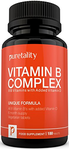 Vitamin B Complex 180 Tablets with Vitamin D (6 month supply) - 100% MONEY BACK GUARANTEE – with Added Vitamin D3 Contains all Eight B Vitamins in 1 Vegetarian Tablet, Vitamins B1, B2, B3, B5, B6, B12, D-Biotin & Folic Acid by Puretality Test