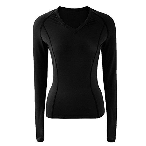 Generic Yoga Shirts Women Black & Dark Blue Solid Long Sleeve V-Neck Yoga Sports T Shirt Gym Running -Black-Large