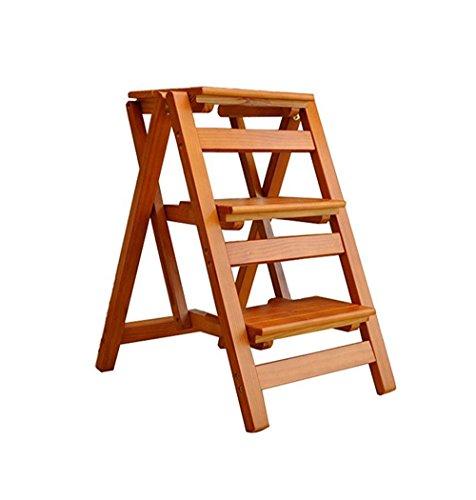 Trittleiter Klappstufen Tritthocker Massivholz 3 Schritt Leiter Stuhl Multifunktionale Holzleiter Stuhl Faltbare Regalleiter (Farbe : #2)