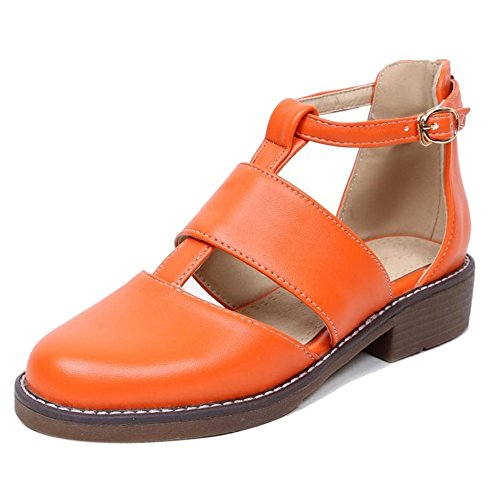 TAOFFEN Damen Mode Blockabsatz Pumps Mit Schnalle Gem¨¹tlich Sandalen 449 Orange