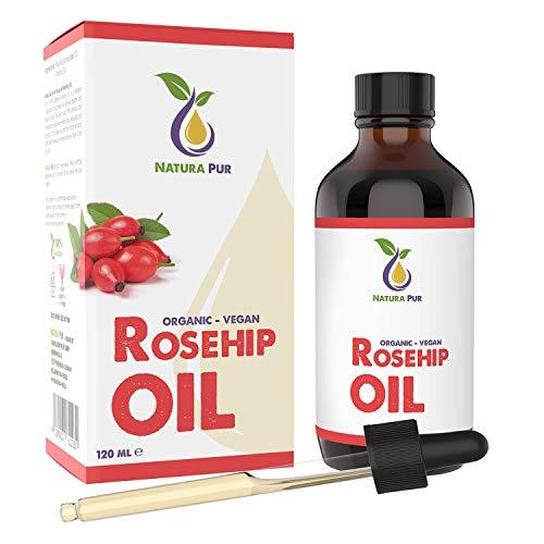Natura Pur Bio Hagebuttenöl (Wildrosenöl) 120ml - 100% kaltgepresst, unraffiniert, vegan - für Gesicht, Körper, Haare, Haut, Hände -