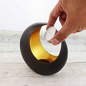 Teelichthalter Mond | Teelichtschale 14,5 cm bronze/goldfarben | Windlicht Dekoschale aus Metall | Strahlender Teelichthalter | Weihnachtsdeko