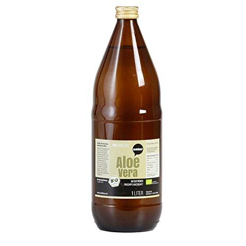 6 x 1l Wohltuer Bio Aloe Vera Frischpflanzensaft, 100% Aloe Vera Direktsaft aus kontrolliert biologischem Anbau, Vorratspack (1 Liter Aloe)