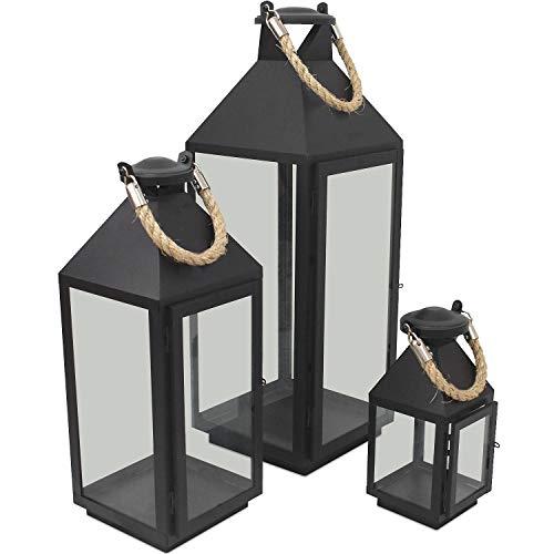 Wohaga 3er Set Laternen mit Henkel H24/41/55cm aus Metall/Glas Laternen Windlichter für Kerzen oder Dekoration