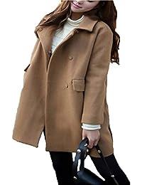 Mujer Chaqueta Manga Larga De Solapa Casual Anchos Unicolor Abrigos Otoño  Invierno Bastante Espesor Termica Abrigo Lana Outwear… 4d9f61f2b2ae