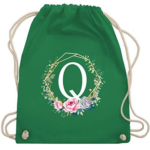 Anfangsbuchstaben - Blumenkranz mit Buchstabe Q - Unisize - Grün - WM110 - Turnbeutel & Gym Bag
