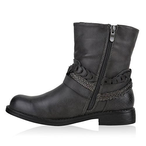 Damen Stiefeletten Schnallen Grau Lederoptik Gefüttert Biker Boots qxwFrxpWU0
