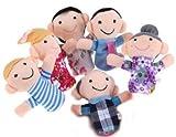 SODIAL(TM) 6 X Marionnettes/Jouets Aux doigts En peluche Comprend grand-m¨¨re/grand-p¨¨re/soeur/fr¨¨re/papa maman