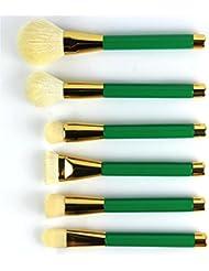 Hundir desterrar cosméticos cepillo Set 15profesional Herramientas de maquillaje de lana de color verde, verde