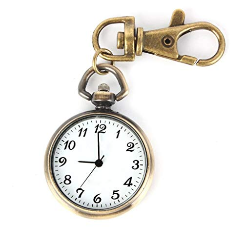 SODIALR Color de bronce Reloj de cuarzo pendiente redondo Reloj para ninos senoras de llavero de bolsillo...